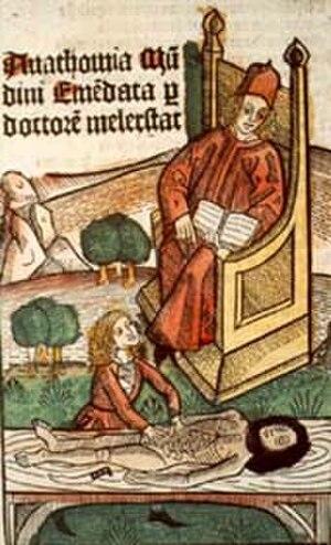 """Mondino de Luzzi - Mondino de Luzzi, """"Lesson in Anatomy"""", originally published in Anatomia corporis humani, 1493. Courtesy of the National Library of Medicine"""