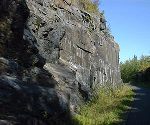 Willard Munger State Trail - A view of the Munger Trail as it passes through a rock cut between Carlton, Minnesota and Duluth, Minnesota.