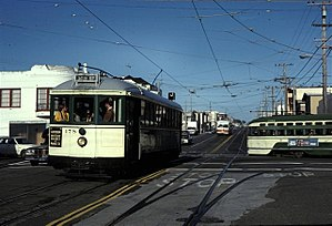 Taraval and 46th Avenue station - Several historic streetcars on an excursion in 1982