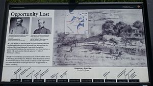 Second Battle of Petersburg - National Park Service Marker depicting the capture of Batteries 5 and 7