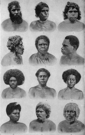 Australo-Melanesian - Gallery of portraits of Aboriginal Australians (The New Student's Reference Work, 1914 edition, volume 1, p. 178.)