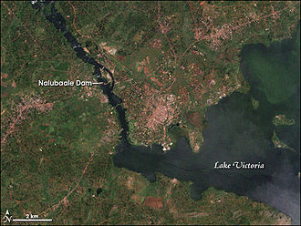 Nalubaale Hydroelectric Power Station - Satellite image showing the location of the dam in relation to Lake Victoria