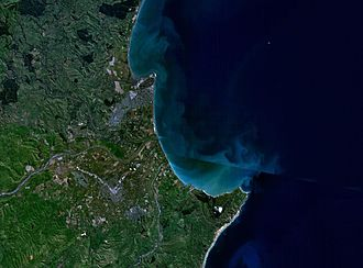 Napier, New Zealand - NASA satellite photo of Napier and southern Hawke Bay