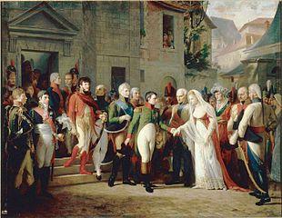 Napoléon reçoit la reine de Prusse à Tilsitt