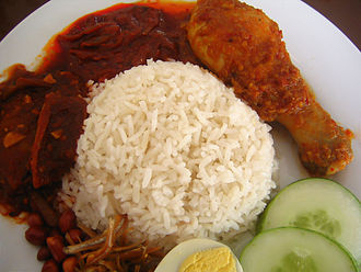 Coconut rice - Nasi lemak, a popular coconut rice dish in Singapore and Malaysia.