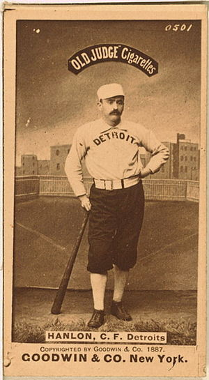 Ned Hanlon (baseball) - Old Judge baseball card of Hanlon with Detroit, 1887