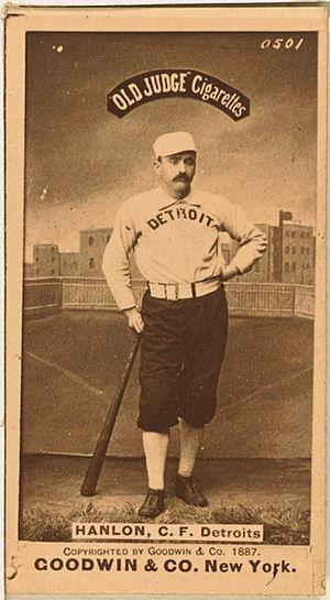 Ned Hanlon (baseball) - Old Judge baseball card of Hanlon with Detroit, 1887