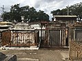 St. Louis Cemetery No. 1, many 19th century tombs have wrought iron fences