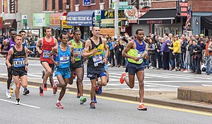 2015 New York City Marathon - Lead pack on 4th Avenue, Brooklyn