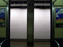 Rain from drainage pipes comes into a subway car