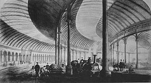 Newcastle railway station - The trainshed soon after opening.
