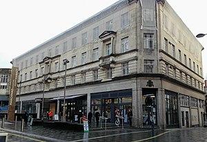 High Street, Newport, Wales - Newport Market, High Street entrance and modern pedestrianisation (2014)