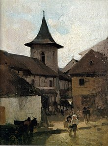 The Bărăţia in C�mpulung, late 19th century painting by Nicolae Grigorescu