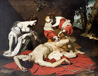 Saint Sebastian Tended by Saint Irene - One of three versions of the subject by Nicolas Régnier, c. 1625