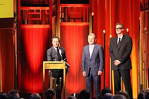 Fargo (TV series) - Noah Hawley, Warren Littlefield and John Cameron at the 74th Annual Peabody Awards
