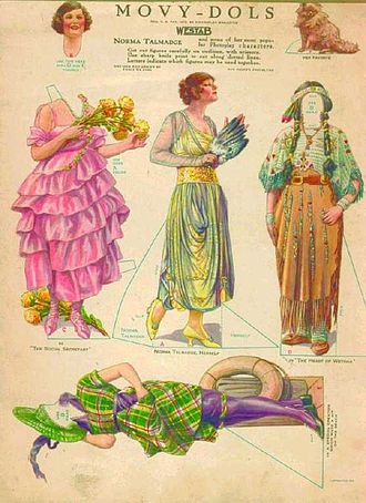 Paper doll - 1919 magazine illustration of actress Norma Talmadge and some of her film costumes in paper doll form