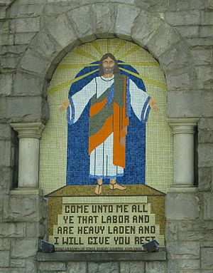 Religion in Atlanta - Protestant Christian imagery, such as this mural on North Avenue Presbyterian Church, is common in Atlanta