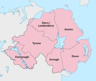 The traditional counties of Northern Ireland Northern Ireland - Counties.png