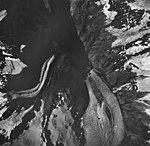 Northwestern and Northeastern Glaciers, terminus of tidewater glaciers, hanging glaciers with icefall, August 27, 1963 (GLACIERS 6693).jpg