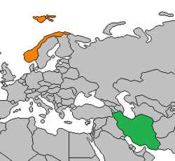 Map indicating locations of Iran and Norway