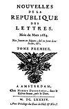由皮埃尔·贝尔(英语:Pierre Bayle)創辦的文壇共和國新聞(英語:Nouvelles de la république des lettres)[9]封面