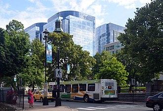 Nova Centre - Nova Centre (glass towers in background) in July 2017
