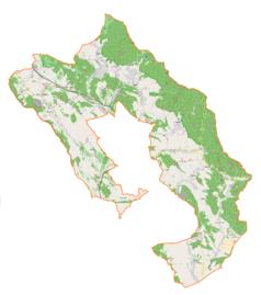 """Mapa konturowa gminy wiejskiej Nowa Ruda, u góry znajduje się punkt z opisem """"Pałac w Jugowie"""""""