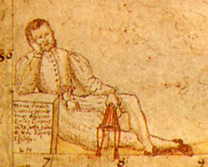 Laurence Nowell - Nowell's self-portrait with an empty purse, from the lower left corner of the pocket map he prepared for William Cecil.