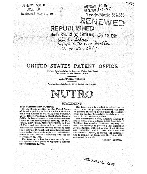 Nutro dog food trademark from 1934