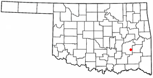 Hartshorne, Oklahoma - Image: OK Map doton Hartshorne