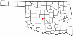 Location of Minco, Oklahoma