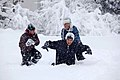 Obama and daughters in snowstorm.jpg