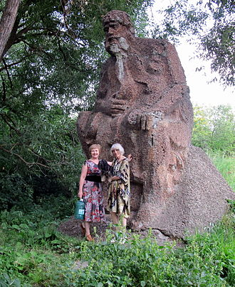Penza Oblast - Tourists near Oldman Khopyor at river source