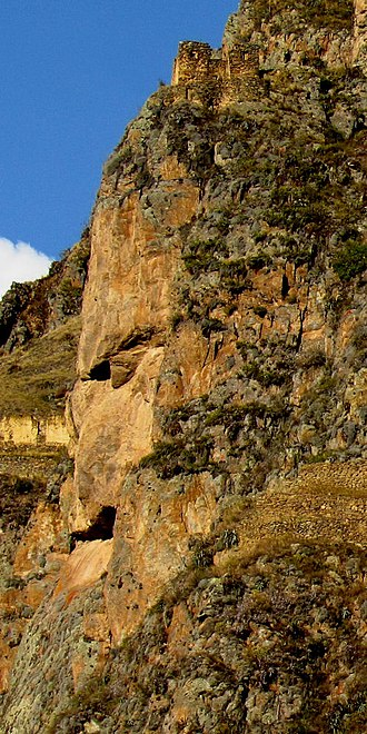 Ollantaytambo - Viracocha's or Tunupa's image in stone on the mountain Pinkuylluna overlooks Ollantaytambo: Viracocha was the creator god of pre-Incan and Incan mythology.