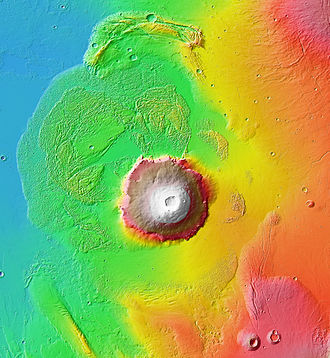 Mars Global Surveyor - One of the big returns of MGS, was the laser altimeter maps, here is Olympus Mons and surroundings