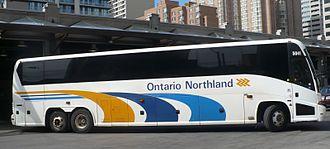 Ontario Northland Motor Coach Services - Ontario Northland bus departing from the Toronto Coach Terminal