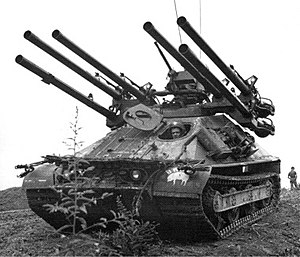 Ontos M50A1, the 50-cal spotting rifles can be seen on the upper guns