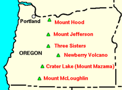 Map of Oregon indicating Portland with a circle in the northwest, and major volcanoes indicated as triangles. Newberry is near the center of the state, under Three Sisters and above Crater Lake (Mount Mazama)