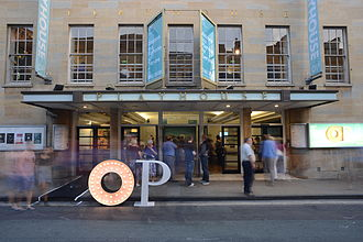 Oxford Playhouse - The theatre entrance on Beaumont Street, Oxford. The gilded lettering above the windows was carved by Eric Gill.