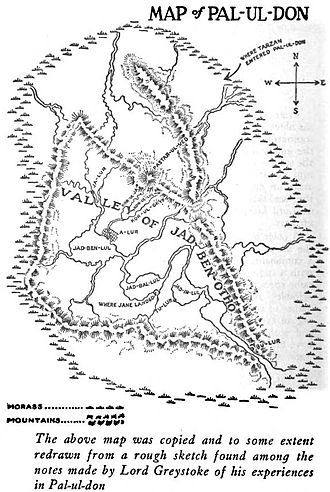 Tarzan the Terrible - Map of Pal-ul-don from the first edition.
