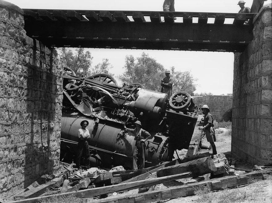 Palestine disturbances 1936. Capsized locomotive