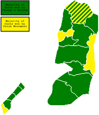 Palestinian National Authority - The Palestinian legislative election in 2006, Hamas (green) and Fatah (yellow)