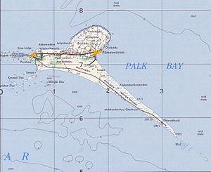 Pamban Island - Map of Pamban island in 1955