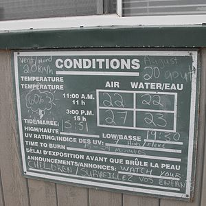 Parlee Beach Provincial Park - Information board showing typical summer water temperature at Parlee Beach