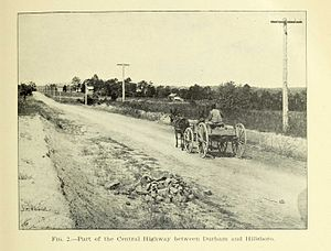 "North Carolina Highway 10 - Fig. 2 Part of the Central Highway between Durham and Hillsboro.jpg, from ""Highway work in North Carolina : containing a statistical report of road work during 1911"" (1912), Economic Paper No. 27 of the North Carolina Geological and Economic Survey, by Joseph Hyde Pratt, State Geologist"