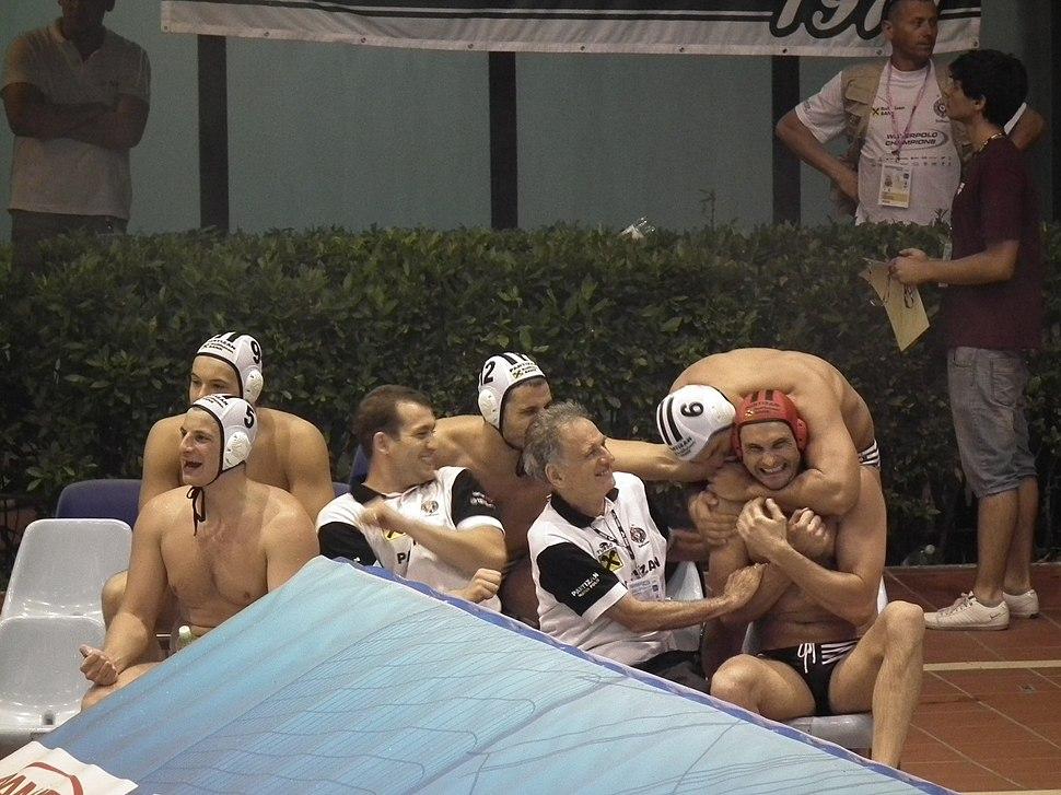 Partizan players celebrate Euroleague title