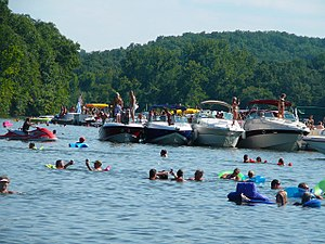 Lake of the Ozarks - Anderson Hollow Cove, informally known as Party Cove, in 2007.