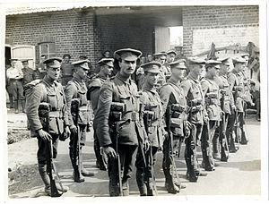 1908 Pattern Webbing - Soldiers of the Leicestershire Regiment in France in 1915, in Full Marching Order. The ammunition pouches can be clearly seen.