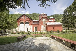 "Metohija - Patriarchal Monastery of Peć, the seat of the Serbian Orthodox Church from the 14th century. The name Metohija means ""monastic estates"""