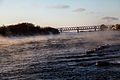 Pavlodar city, Kazakhstan. Irtysh riverside in winter time. Railroad bridge.jpg